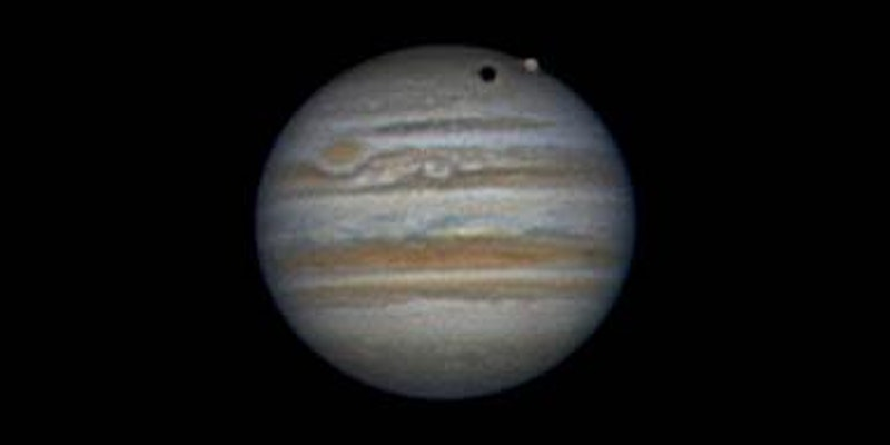 Picture taken from Abergavenny of Jupiter and its largest moon Ganymeade and its shadow.